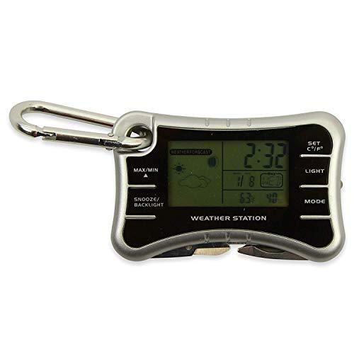 Kabellose Wetterstation Camping Zubehör – Reisewecker klein Schlüsselanhänger Taschenlampe Multitool mit digitalem Raumtemperatur-Thermometer und Luftfeuchtigkeitsmesser