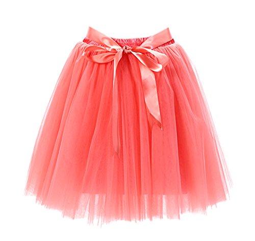 Honeystore Damen's Rock Tutu Tütü Petticoat Tüllrock 7 Schichten mit Gummizug für Karneval, Party und Hochzeit Wassermelone One Size