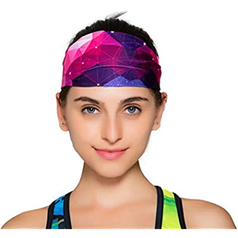 bioxo Diadema para deportes baloncesto Diadema, Yoga, cabeza de banda de sudor banda, 3D Three-dimensional purple