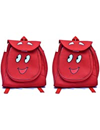 Pratham Enterprises Combo Of Red Smile Cute Teddy Soft Toy School Bag For Kids ( Pack Of 2)