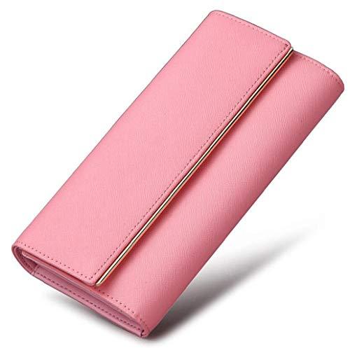 ACVXZ Cartera Larga de Cuero para Mujer Bolso de Embrague Femenino multifunción 30% Cartera Regalo de cumpleaños (Color : Pink1, Tamaño : One Size)