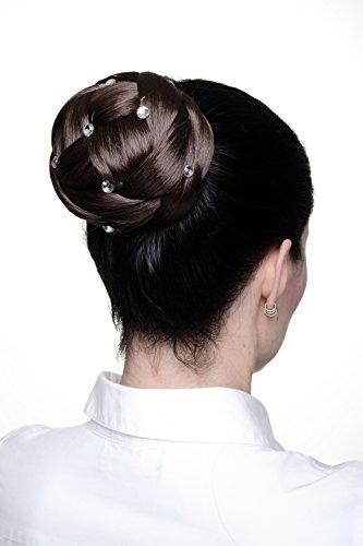 WIG ME UP - Haarteil aufwendig geflochten Zopf Dutt Haarknoten Tracht Braun breit voluminös mit Strass-Steinen/Glitzersteinen JL-SZ01-8 Bayern Stein