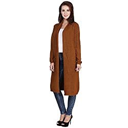 MansiCollections Brown Longline Cardigan For Women