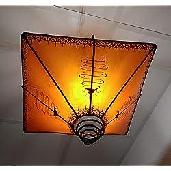 Casablanca Orient Marrakesch - Lámpara de Techo (Piel, 20 x 39 x 39 cm), diseño Oriental, Color Naranja