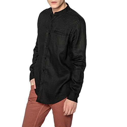 La redoute collections uomo camicia regular in lino collo alla coreana l