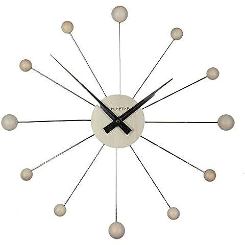 Moderno Reloj de Pared Cromado y Madera - Arce