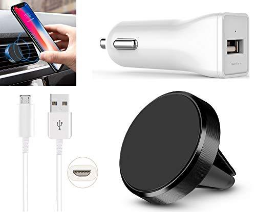 3in1 Handyhalterung Auto Magnet Lüftung Gitter KFZ Halterung mit weiß Ladegerät Schnell Kfz-Adapter + Micro-USB Kabel 1m Ladekabel für Samsung Galaxy J1 J2 J3 J5 J7 (2015) (2016) (2017) Schwarz