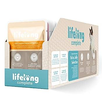 Marque Amazon- Lifelong Aliment complet pour chats adultes- Sélection au poisson en gelée 9,6 kg (96 sachets x 100g)
