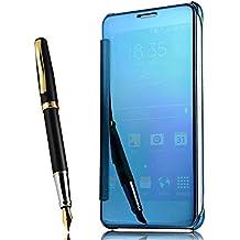 Coque Samsung Galaxy S7 Edge Flip Cover Clear View Spéculaire sommeil / réveil Fonction étui Housse Bumper,bleu