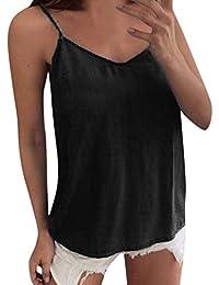 Camisetas sin Mangas Color sólido de Mujer,Honestyi Camisa Espalda Abierta Blusa Arco T-Shirt Tirantes Camisola V-Cuello Chaleco Tops Ropa Abrigo Sudadera con Capucha Primavera Verano