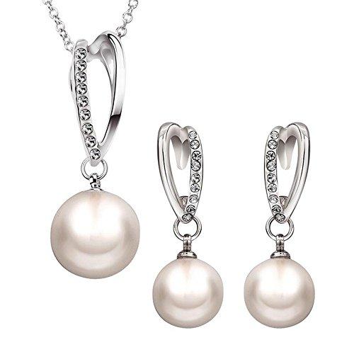 KOLA L'oro bianco placcato lega di cristallo perla gioielli set collana di orecchini