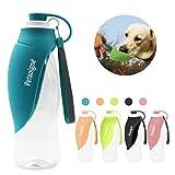 Petilleur Bottiglia Acqua Cane Portatile Bottiglia da Viaggio per Cani con Ciotola in Silicone per Esterno (Blu)