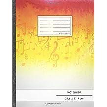 """NOTENHEFT DIN A4 • 48 Seiten, 24 Blatt, 12 Systeme, """"Rot-Gelb"""" • Original #GoodMemos Schulheft • Mit Register und Seitenzahlen, Notenlineatur 14"""