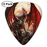 Guitar Picks12pcs Plectrum (0.46mm-0.96mm), Majestic Dragon Resting On Mountain Mythological Fire-Spewing Creature Print,For Your Guitar or Ukulele