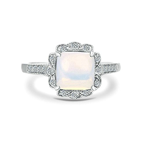 AMDXD Jewelry Sterling Silver Promise Rings for Girls White Opal Crystal Inlay Silver Size L 1/2