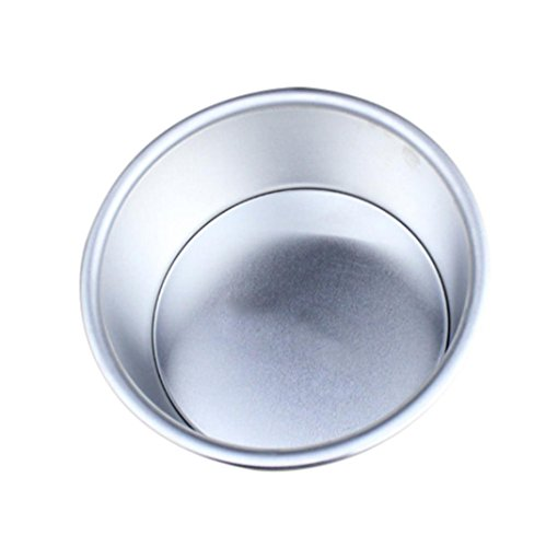 Cake Pan,Wokee Round Cake Baking Mould Pan Aluminum Alloy Non Stick Bakeware Quick-Release Springform Cake Pan (Silver 6 inch)