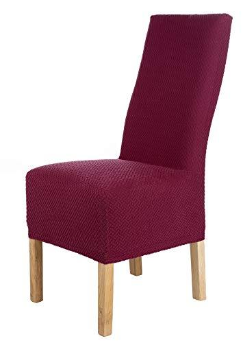 SCHEFFLER-Home Luna-Lang 2er Pack Stuhlhussen Stretch, Stuhlabdeckung elastisch, Samt Spannbezug mit Gummiband, rot