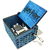 FOONEE Harry Potter Caja de música de Madera Caja manivela manivela clásica temática de Peluca Caja Musical Azul/marrón