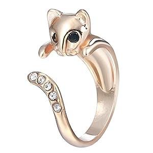 Fengteng Katze Ring Tier Fingerring mit Strass offene Ringe niedliche Schmuck für Frauen Mädchen