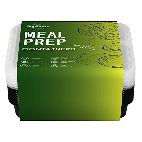 Frischhaltedosen - Wiederverwendbare Behälter zur Lebensmittelaufbewahrung, mit Deckeln, Bento-Box mit drei Fächern (10-er Packung) | Essenszubereitung, mikrowellengeeignet | ideal zum Portionieren, bei Diäten und beim Abnehmen | spülmaschinenfest, auslaufsicher und BPA-frei