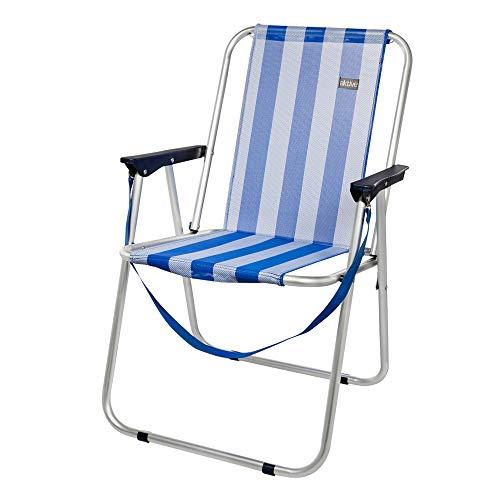 AKTIVE 53951 Silla Plegable Fija Aluminio Beach, 47 x 54 x 75 cm, Azul Oscuro