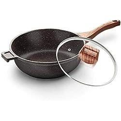 CJTMY Woks antiadhésifs et poêles à Frire avec Couvercle, Panier à friture et Support Vapeur, lèchefrite antiadhésive en cuivre au Wok, Couvercle, Wok à Couvercle, (Size : S)