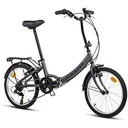 "Moma Bikes Bicicleta Plegable Urbana SHIMANO FIRST CLASS 20"" Alu, 6V. Sillin Confort, Gris"