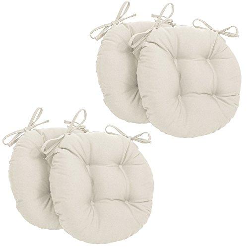 Corredocasa - set x4 cuscini per sedia rotondi con lacci made in italy - diametro 35 cm - beige