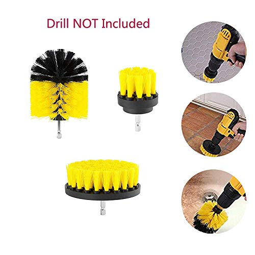 """H.Yue Drill Brush Power Scrubber Cleaning Brush Attachments Tool, Time Saving Cleaning Kit for Car, Kitchen, Bathroom, Wooden Floor, Laundry Room Cleaning - 2"""", 3.5"""", 4"""" (3PCS) Attachments (Yellow)"""