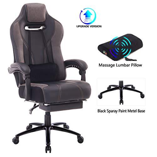 Wolmic Racing Stil Gaming-Stuhl mit Fußstütze E-Sports Höhe Rücken Ergonomischer Computer Schreibtisch Leder Bürostuhl mit Verstellbarer und gepolsterter Kopfstütze (8300Grau)