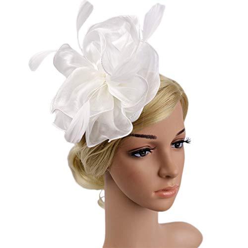 Fascinator Hut Feder Mesh Netz Schleier Party Hut Ascot Hüte Blume Derby Hut mit Clip und Stirnband für Frauen (G1-WEIß)