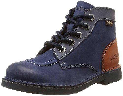 Kickers Kick Col, Chaussures Hautes Classiques mixte enfant, Bleu (Marine/Camel), 35 EU
