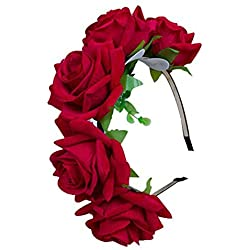 TININNA Corona de Flores,Diadema Tiara Guirnalda Flor de Pelo Cabeza para Novia Boda para Novia Artificiales para el Pelo Elegante Decoradas para Boda Fiesta Viaje Fotografía-Rojo