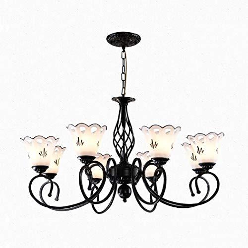 YJFFAN Home Lighting Creative Chandelier, Modern Minimalist Wrought Iron Glass Multi-Head Chandelier for Living Room Dining Room Bedroom Lampe E27,110-240V,8heads