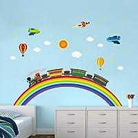 ufengke Rainbow Train Wall Stickers DIY Rocket Airplane Wall Decals Art Decor for Kids Nursery Bedroom Living Room