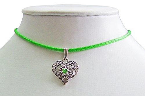 kette Sira mit Edelweiß Herz - Grün - Zauberhafter Schmuck für Mädchen zu Dirndl und Kleidern (Trachten Schmuck Halskette)