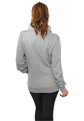 Urban Classics Ladies Hoody Contrast Shoulder High Neck Grey/Black