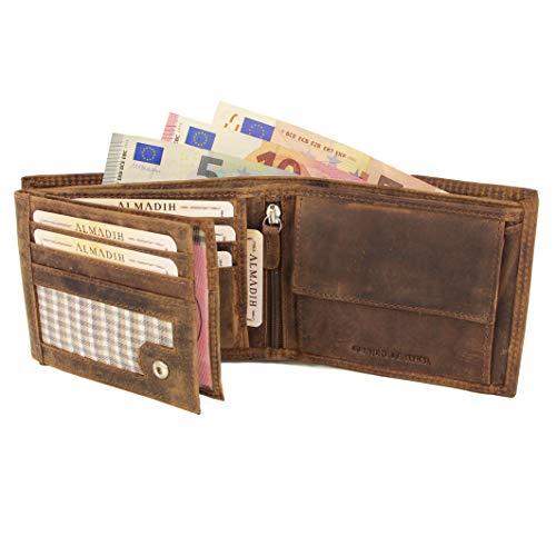ALMADIH ® Premium Leder Portemonnaie querformat 15 Kartenfächer in Geschenkbox P2Q braun Vintage Rinsleder Herren Damen Börse Unisex Geldbörse Geldbeutel Portmonee Brieftasche (P2QS Dunkelbraun) (Tri-fold Leder Verarbeitetes)