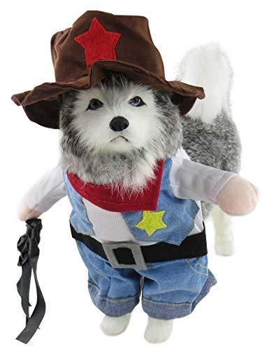 Mombebe Hunde Dogs Halloween Cosplay Kostüm Kleidung Sets Weihnachten mit Hut (S, - Cowboy Hunde Kostüm