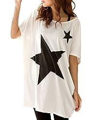 ZANZEA Camiseta Casual Estampada Estrellas Verano Algodón Cuello Redondo Mangas Cortas para Mujer