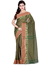 Wooden Tant Cotton Tant Handloom Saree In Bottle Green