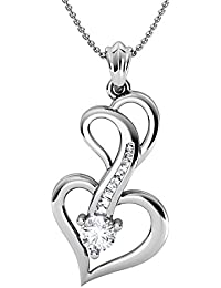 Pendant For Women With Certified Taper Baguette Real Diamond Wt 0.09 Ct In Sterling Silver 925, Silver Taper Jewels...