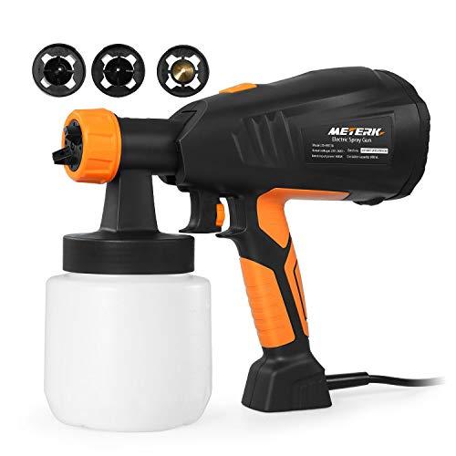 Meterk Pistola a spruzzo elettrica staccabile 400W,3 Modalità di Verniciatura, Pittura, Verniciare,Flusso massimo 800 ml/min,contenitore 0.8L
