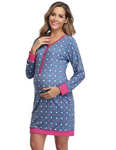 Aibrou Damen Stillnachthemd Umstands Nachthemd Stillshirt Langarm Umstandskleid mit Punkt Dunkelblau XL