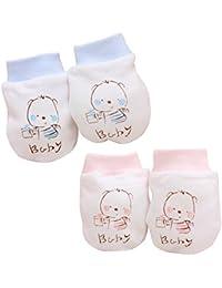 Bio Baumwolle Neugeborene Baby Anti Kratz F/äustlinge Handschuhe Mehrfarbiger Muster Erdbeeren