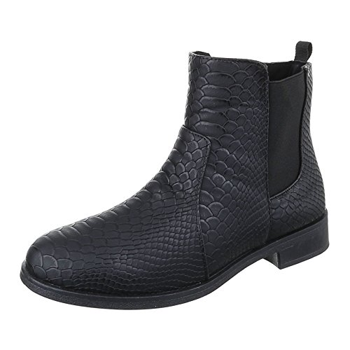 Ital-Design Chelsea Boots Damen Schuhe Chelsea Boots Blockabsatz Leicht Gefütterte Reißverschluss Stiefeletten Schwarz