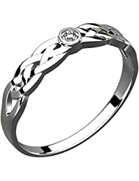 Sterling Silver Trinity Knot Celtic Ring, Cubic Zirconia Stone (Weight 3 gms)