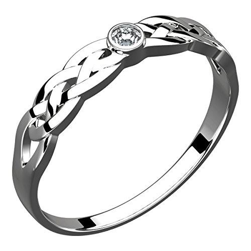 UPCO Bague celtique, argent sterling, noeud de la Trinité, pierre carrée de Zircone (poids : 3g) - 8