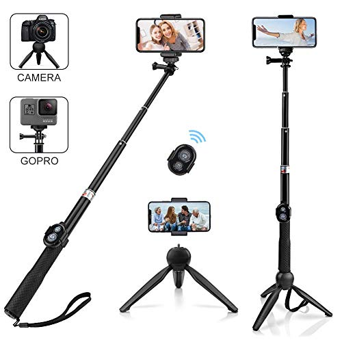 Alfort bastone selfie, selfie stick bluetooth bastone selfie treppiede portatile con telecomando bluetooth per iphone x / 8 / samsung a5 / s9 / huawei/sony / gopro e altri ios/android (6.0 pollice)
