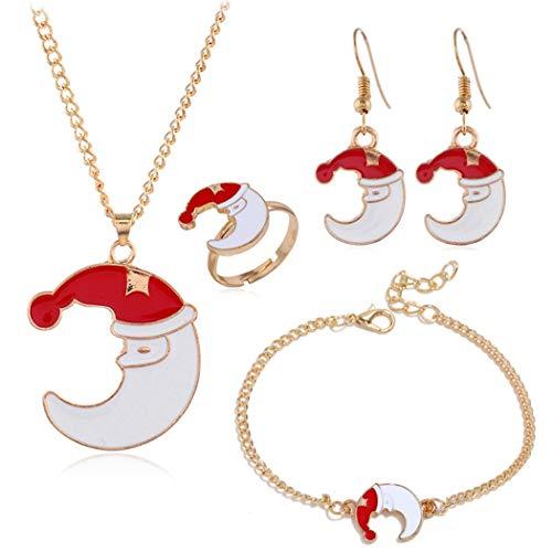 ZOYLINK Schmuckset Fashion Charm Halskette Armband Fingerring Ohrringe für Weihnachten